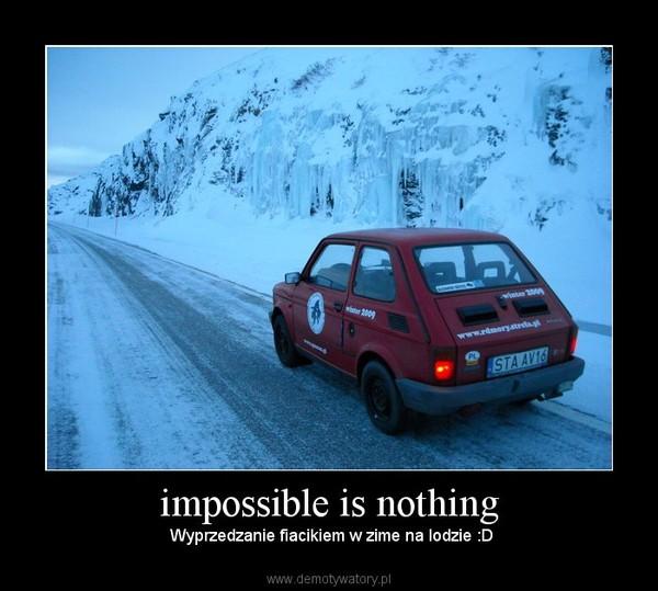 impossible is nothing –  Wyprzedzanie fiacikiem w zime na lodzie :D