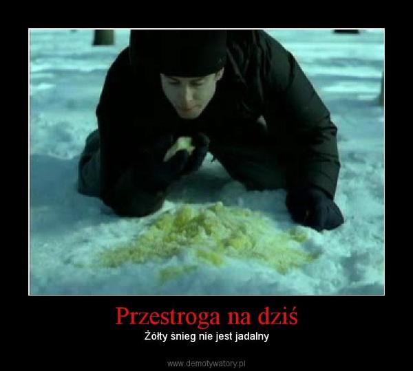 Przestroga na dziś –  Żółty śnieg nie jest jadalny