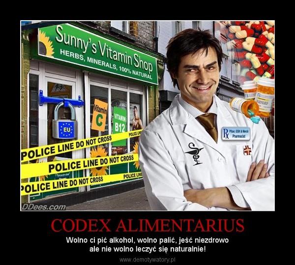 CODEX ALIMENTARIUS – Wolno ci pić alkohol, wolno palić, jeść niezdrowoale nie wolno leczyć się naturalnie!