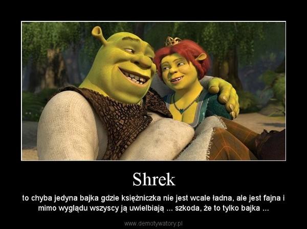 Shrek – to chyba jedyna bajka gdzie księżniczka nie jest wcale ładna, ale jest fajna i mimo wyglądu wszyscy ją uwielbiają ... szkoda, że to tylko bajka ...