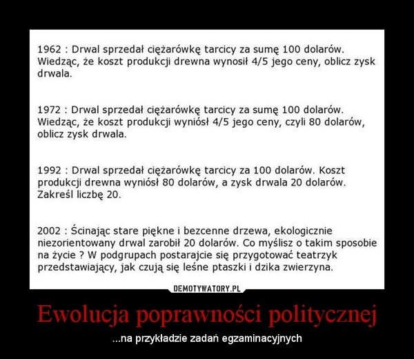 Ewolucja poprawności politycznej – ...na przykładzie zadań egzaminacyjnych