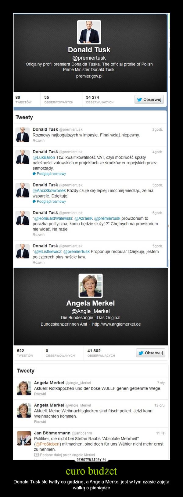 euro budżet – Donald Tusk śle twitty co godzinę, a Angela Merkel jest w tym czasie zajęta walką o pieniądze