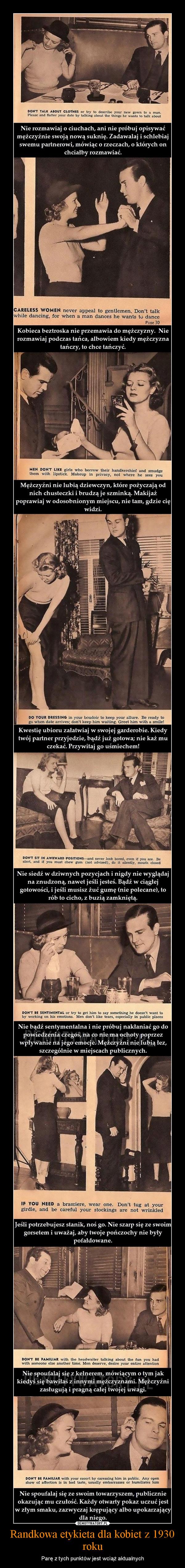 Randkowa etykieta dla kobiet z 1930 roku – Parę z tych punktów jest wciąż aktualnych