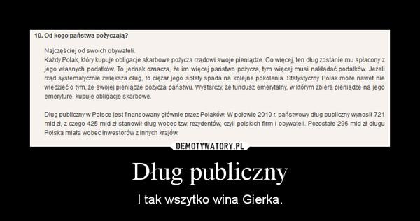 Dług publiczny – I tak wszytko wina Gierka.