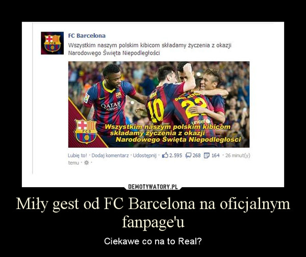 Miły gest od FC Barcelona na oficjalnym fanpage'u – Ciekawe co na to Real?