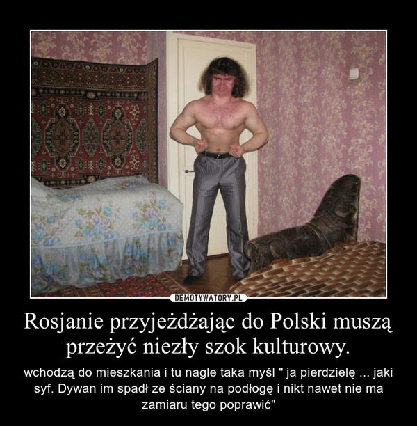 """Rosjanie przyjeżdżając do Polski muszą przeżyć niezły szok kulturowy. – wchodzą do mieszkania i tu nagle taka myśl """" ja pierdzielę ... jaki syf. Dywan im spadł ze ściany na podłogę i nikt nawet nie ma zamiaru tego poprawić"""""""