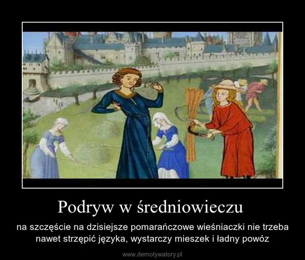 Podryw w średniowieczu  – na szczęście na dzisiejsze pomarańczowe wieśniaczki nie trzeba nawet strzępić języka, wystarczy mieszek i ładny powóz