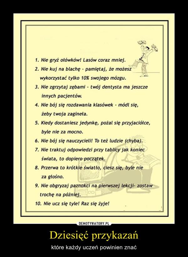 Dziesięć przykazań – które każdy uczeń powinien znać