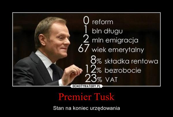 Premier Tusk – Stan na koniec urzędowania
