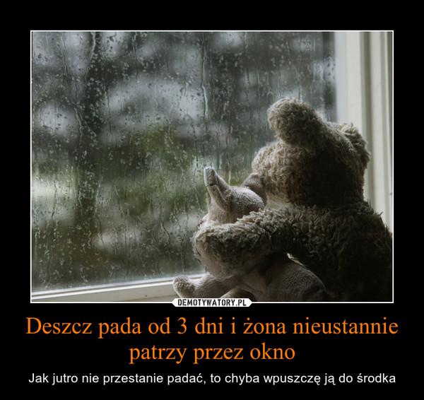 Deszcz pada od 3 dni i żona nieustannie patrzy przez okno – Jak jutro nie przestanie padać, to chyba wpuszczę ją do środka