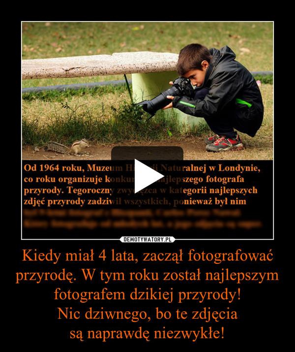 Kiedy miał 4 lata, zaczął fotografować przyrodę. W tym roku został najlepszym fotografem dzikiej przyrody!Nic dziwnego, bo te zdjęciasą naprawdę niezwykłe! –