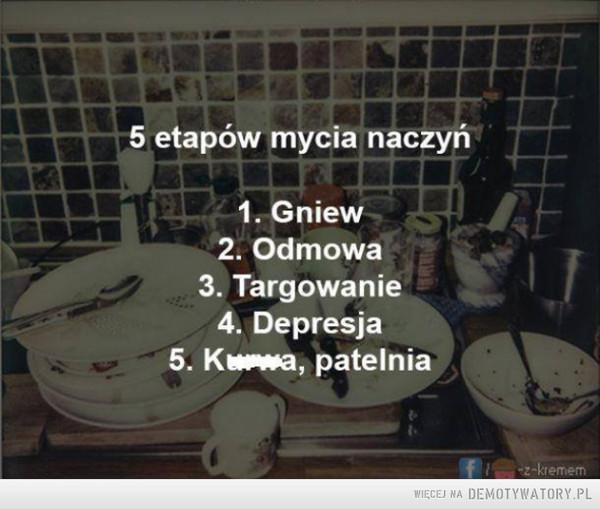 5 etapów mycia naczyń: –