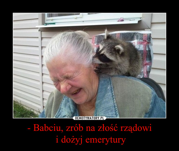 - Babciu, zrób na złość rządowi i dożyj emerytury –