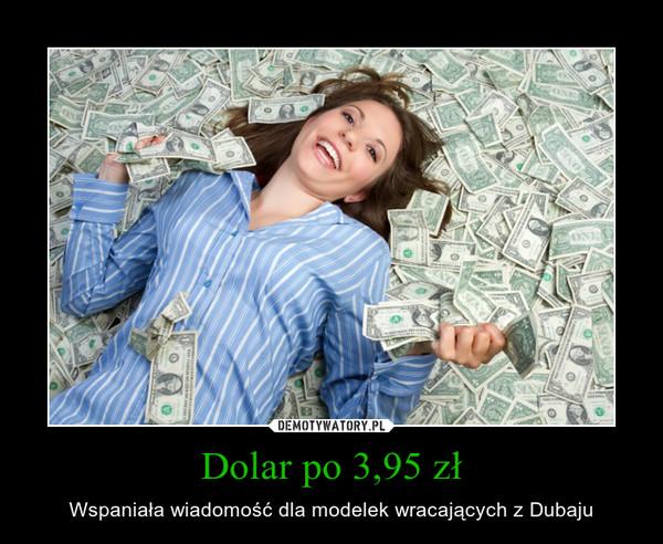 Dolar po 3,95 zł – Wspaniała wiadomość dla modelek wracających z Dubaju