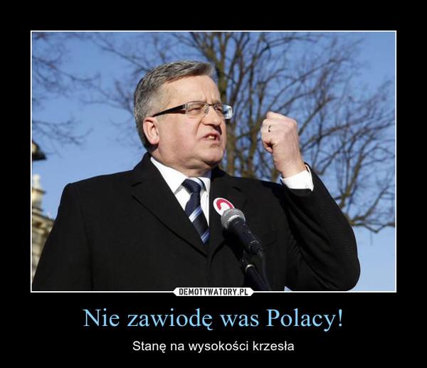 Nie zawiodę was Polacy! – Stanę na wysokości krzesła