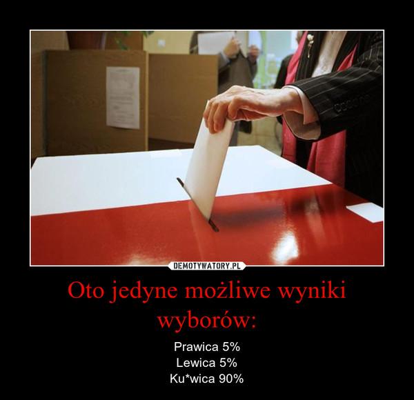 Oto jedyne możliwe wyniki wyborów: – Prawica 5%Lewica 5%Ku*wica 90%
