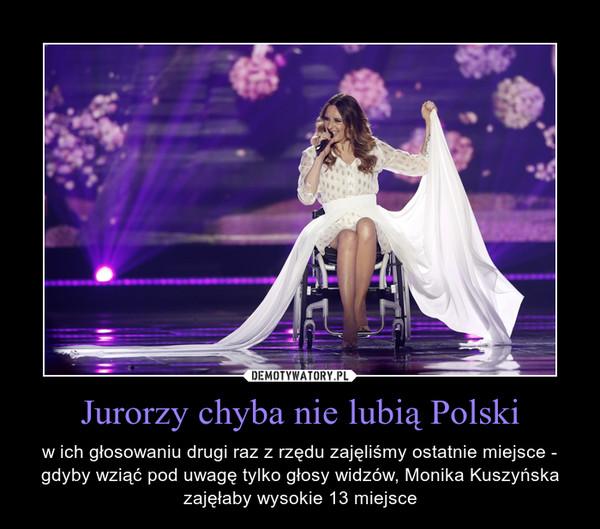 Jurorzy chyba nie lubią Polski – w ich głosowaniu drugi raz z rzędu zajęliśmy ostatnie miejsce - gdyby wziąć pod uwagę tylko głosy widzów, Monika Kuszyńska zajęłaby wysokie 13 miejsce