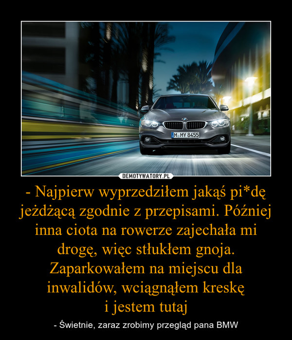 - Najpierw wyprzedziłem jakąś pi*dę jeżdżącą zgodnie z przepisami. Później inna ciota na rowerze zajechała mi drogę, więc stłukłem gnoja. Zaparkowałem na miejscu dla inwalidów, wciągnąłem kreskęi jestem tutaj – - Świetnie, zaraz zrobimy przegląd pana BMW