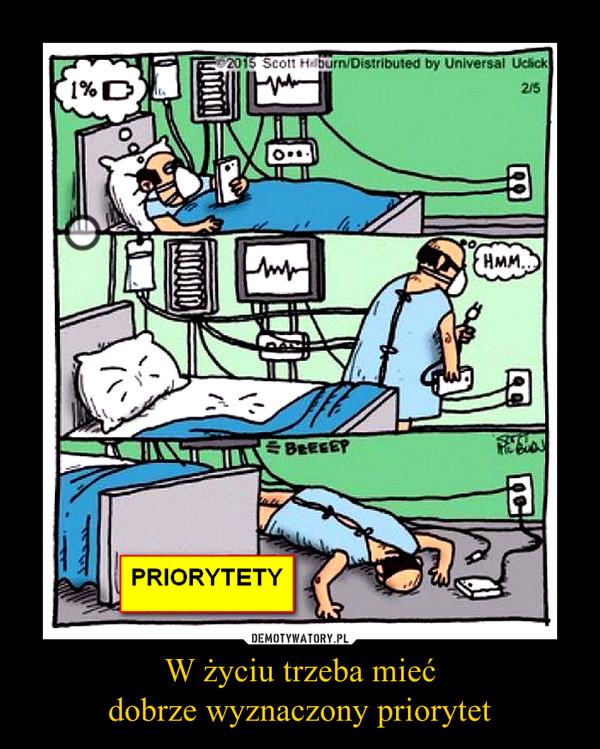 W życiu trzeba miećdobrze wyznaczony priorytet –