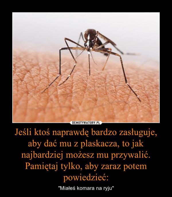 """Jeśli ktoś naprawdę bardzo zasługuje, aby dać mu z plaskacza, to jak najbardziej możesz mu przywalić. Pamiętaj tylko, aby zaraz potem powiedzieć: – """"Miałeś komara na ryju"""""""