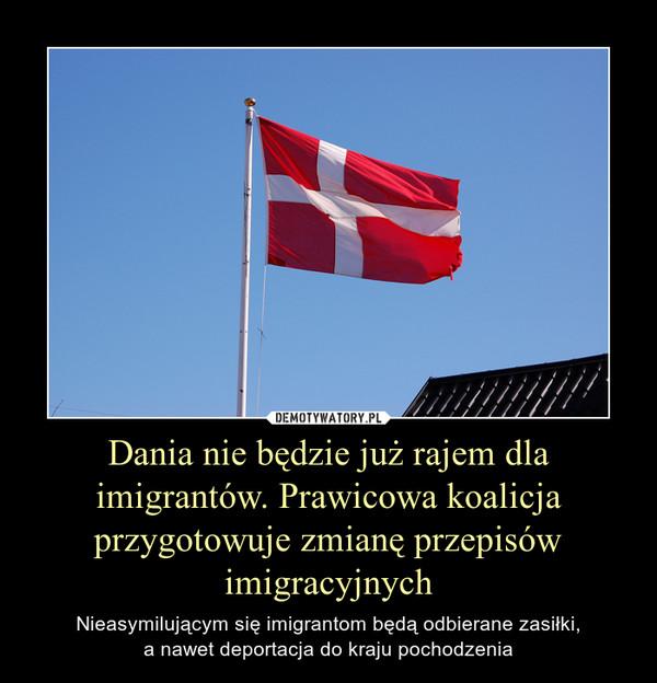 Dania nie będzie już rajem dla imigrantów. Prawicowa koalicja przygotowuje zmianę przepisów imigracyjnych – Nieasymilującym się imigrantom będą odbierane zasiłki,a nawet deportacja do kraju pochodzenia