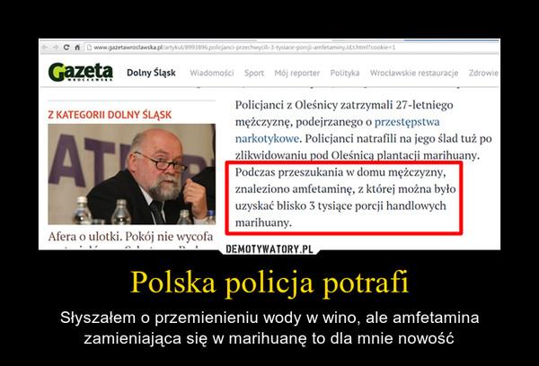 Polska policja potrafi – Słyszałem o przemienieniu wody w wino, ale amfetamina zamieniająca się w marihuanę to dla mnie nowość