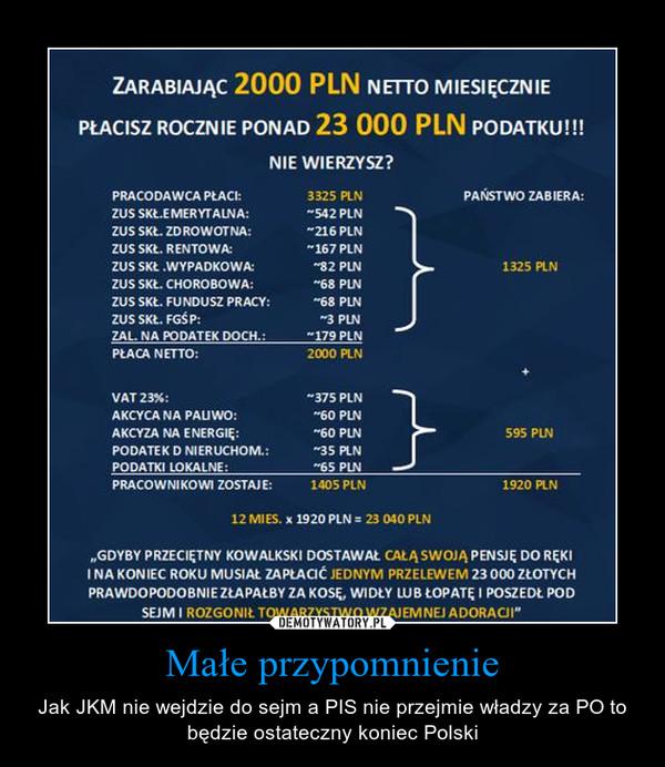 Małe przypomnienie – Jak JKM nie wejdzie do sejm a PIS nie przejmie władzy za PO to będzie ostateczny koniec Polski