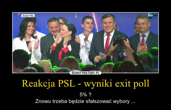 Reakcja PSL - wyniki exit poll – 5% ?Znowu trzeba będzie sfałszować wybory ...