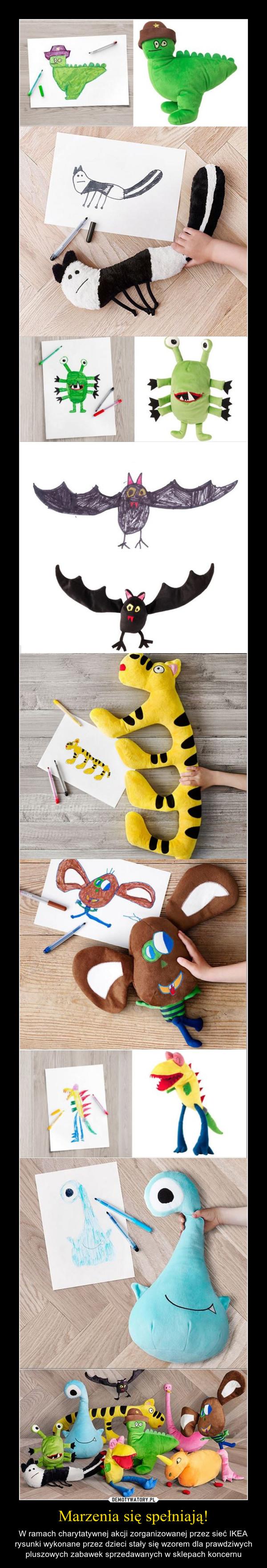 Marzenia się spełniają! – W ramach charytatywnej akcji zorganizowanej przez sieć IKEA rysunki wykonane przez dzieci stały się wzorem dla prawdziwych pluszowych zabawek sprzedawanych w sklepach koncernu