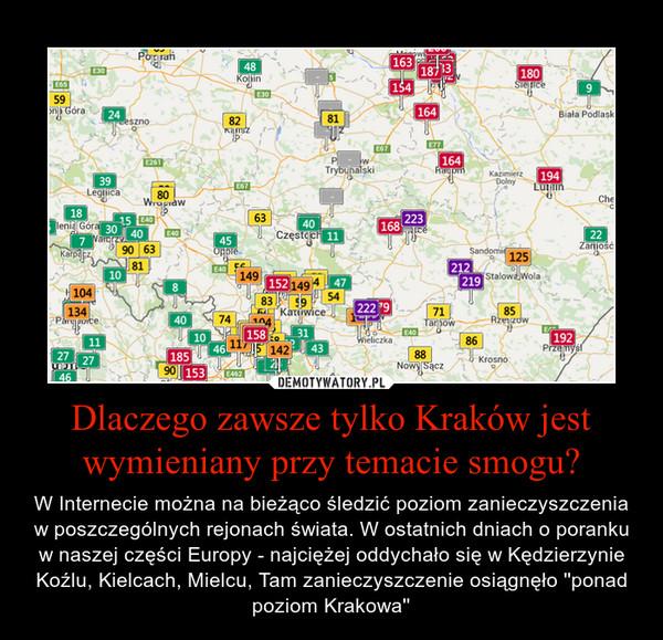 Dlaczego zawsze tylko Kraków jest wymieniany przy temacie smogu? – W Internecie można na bieżąco śledzić poziom zanieczyszczenia w poszczególnych rejonach świata. W ostatnich dniach o poranku w naszej części Europy - najciężej oddychało się w Kędzierzynie Koźlu, Kielcach, Mielcu, Tam zanieczyszczenie osiągnęło ''ponad poziom Krakowa''