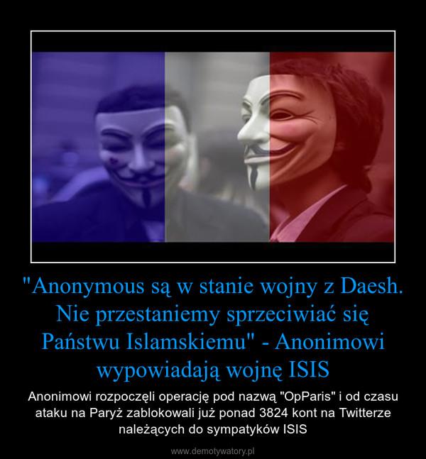 """""""Anonymous są w stanie wojny z Daesh. Nie przestaniemy sprzeciwiać się Państwu Islamskiemu"""" - Anonimowi wypowiadają wojnę ISIS – Anonimowi rozpoczęli operację pod nazwą """"OpParis"""" i od czasu ataku na Paryż zablokowali już ponad 3824 kont na Twitterze należących do sympatyków ISIS"""