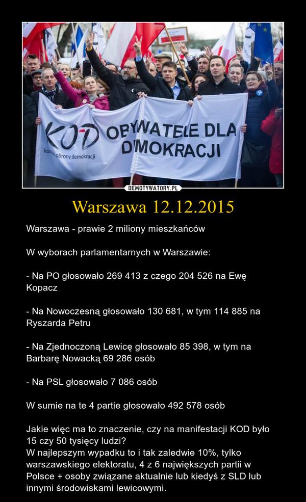 Warszawa 12.12.2015 – Warszawa - prawie 2 miliony mieszkańcówW wyborach parlamentarnych w Warszawie:- Na PO głosowało 269 413 z czego 204 526 na Ewę Kopacz- Na Nowoczesną głosowało 130 681, w tym 114 885 na Ryszarda Petru- Na Zjednoczoną Lewicę głosowało 85 398, w tym na Barbarę Nowacką 69 286 osób- Na PSL głosowało 7 086 osóbW sumie na te 4 partie głosowało 492 578 osóbJakie więc ma to znaczenie, czy na manifestacji KOD było 15 czy 50 tysięcy ludzi?W najlepszym wypadku to i tak zaledwie 10%, tylko warszawskiego elektoratu, 4 z 6 największych partii w Polsce + osoby związane aktualnie lub kiedyś z SLD lub innymi środowiskami lewicowymi.