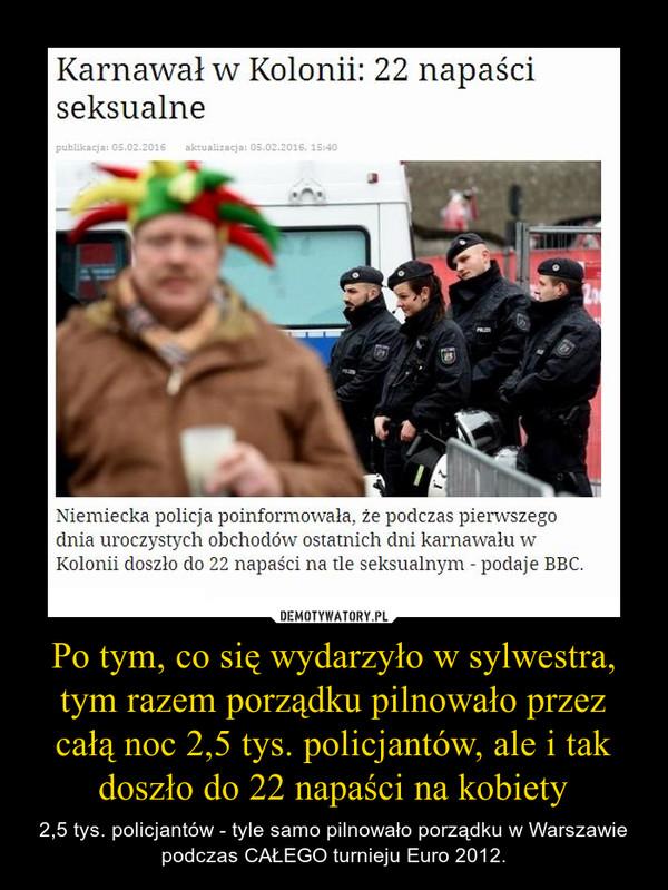 Po tym, co się wydarzyło w sylwestra, tym razem porządku pilnowało przez całą noc 2,5 tys. policjantów, ale i tak doszło do 22 napaści na kobiety – 2,5 tys. policjantów - tyle samo pilnowało porządku w Warszawie podczas CAŁEGO turnieju Euro 2012.