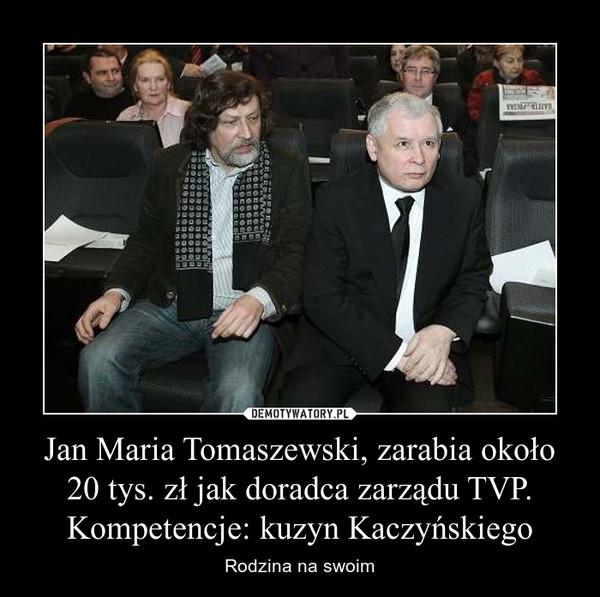 Jan Maria Tomaszewski, zarabia około 20 tys. zł jak doradca zarządu TVP. Kompetencje: kuzyn Kaczyńskiego – Rodzina na swoim