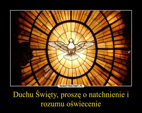 Duchu Święty, proszę o natchnienie i rozumu oświecenie –