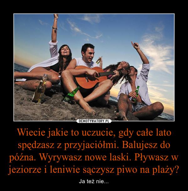 Wiecie jakie to uczucie, gdy całe lato spędzasz z przyjaciółmi. Balujesz do późna. Wyrywasz nowe laski. Pływasz w jeziorze i leniwie sączysz piwo na plaży? – Ja też nie...