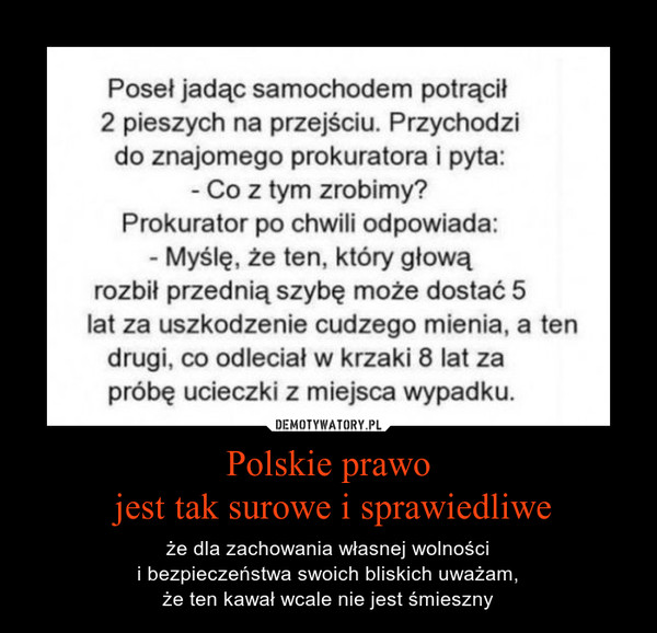 Polskie prawo jest tak surowe i sprawiedliwe – że dla zachowania własnej wolności i bezpieczeństwa swoich bliskich uważam, że ten kawał wcale nie jest śmieszny