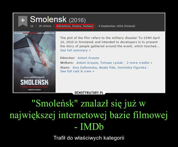 """""""Smoleńsk"""" znalazł się już w największej internetowej bazie filmowej - IMDb – Trafił do właściwych kategorii"""