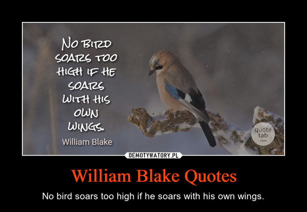 William Blake Quotes – No bird soars too high if he soars with his own wings.