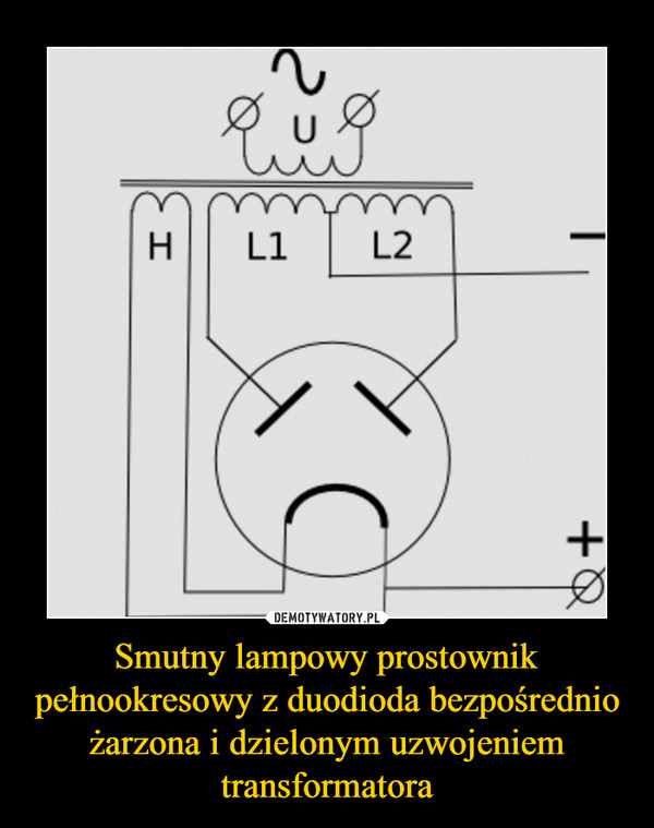Smutny lampowy prostownik pełnookresowy z duodioda bezpośrednio żarzona i dzielonym uzwojeniem transformatora –