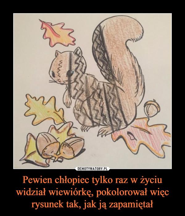 Pewien chłopiec tylko raz w życiu widział wiewiórkę, pokolorował więc rysunek tak, jak ją zapamiętał –