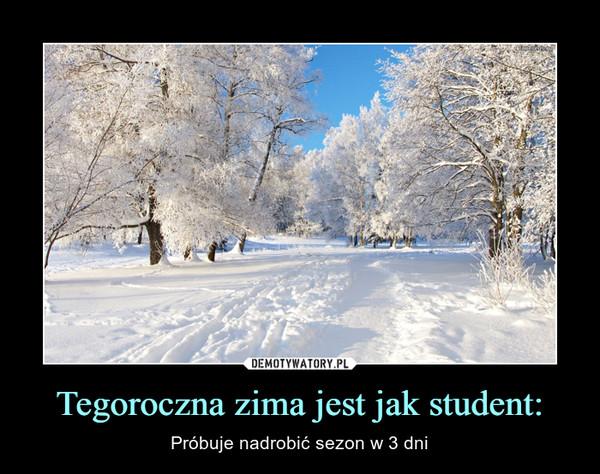 Tegoroczna zima jest jak student: – Próbuje nadrobić sezon w 3 dni