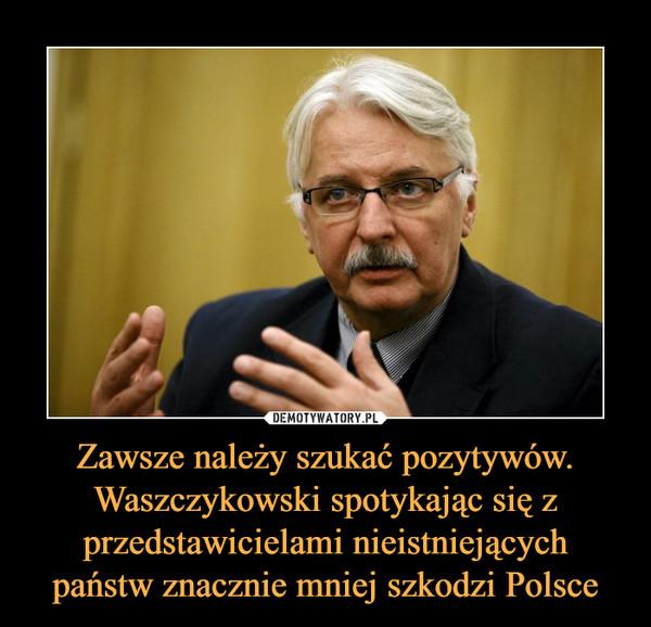 Zawsze należy szukać pozytywów. Waszczykowski spotykając się z przedstawicielami nieistniejących państw znacznie mniej szkodzi Polsce –