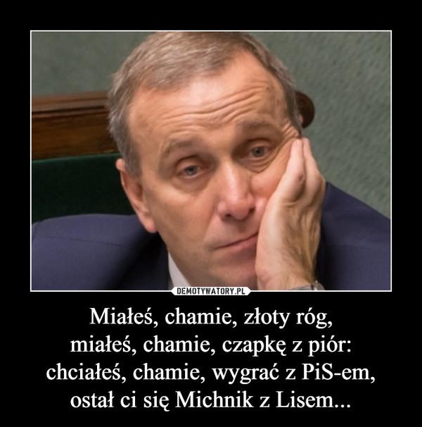 Miałeś, chamie, złoty róg,miałeś, chamie, czapkę z piór:chciałeś, chamie, wygrać z PiS-em,ostał ci się Michnik z Lisem... –