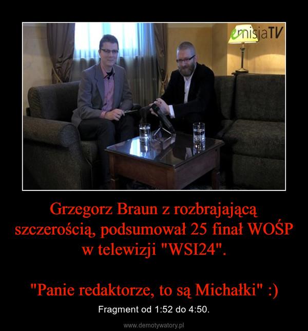 """Grzegorz Braun z rozbrajającą szczerością, podsumował 25 finał WOŚP w telewizji """"WSI24"""".""""Panie redaktorze, to są Michałki"""" :) – Fragment od 1:52 do 4:50."""