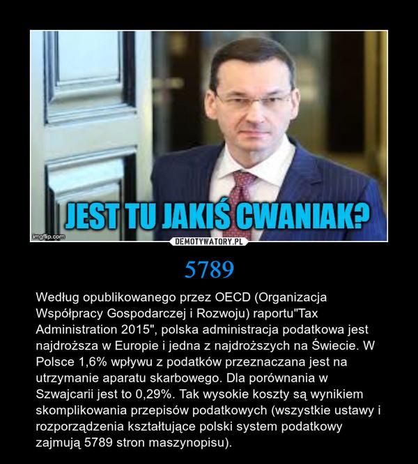 """5789 – Według opublikowanego przez OECD (Organizacja Współpracy Gospodarczej i Rozwoju) raportu""""Tax Administration 2015"""", polska administracja podatkowa jest najdroższa w Europie i jedna z najdroższych na Świecie. W Polsce 1,6% wpływu z podatków przeznaczana jest na utrzymanie aparatu skarbowego. Dla porównania w Szwajcarii jest to 0,29%. Tak wysokie koszty są wynikiem skomplikowania przepisów podatkowych (wszystkie ustawy i rozporządzenia kształtujące polski system podatkowy zajmują 5789 stron maszynopisu)."""