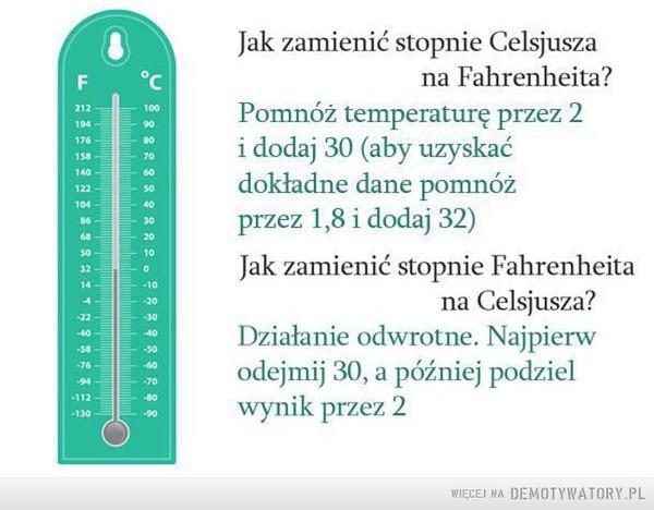 Teraz już będziesz umiał –  Jak zamienić stopnie Celsjusza na Fahrenheita? Pomnóż temperaturę przez 2 i dodaj 30 (aby uzyskać dokładne dane pomnóż przez 1,8 i dodaj 32Jak zamienić Fahrenheita na Celsjusza? Działanie odwrotne. Najpierw odejmij 30, a później podziel wynik przez 2