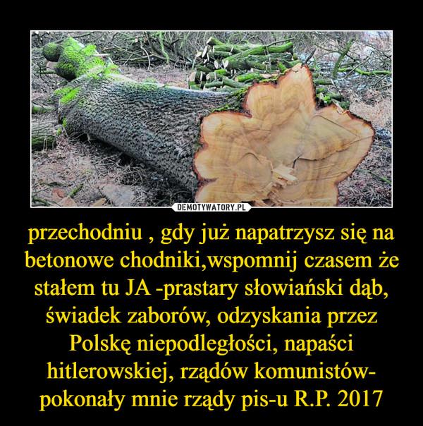 przechodniu , gdy już napatrzysz się na betonowe chodniki,wspomnij czasem że stałem tu JA -prastary słowiański dąb, świadek zaborów, odzyskania przez Polskę niepodległości, napaści hitlerowskiej, rządów komunistów- pokonały mnie rządy pis-u R.P. 2017 –