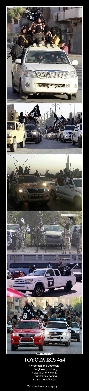 TOYOTA ISIS 4x4 – + Wzmocnione podwozie.+ Zwiększony udźwig.+ Wzmocniony silnik.+ Zwiększony zasięg.+ Inne modyfikacje.Zaprojektowana z myślą o...