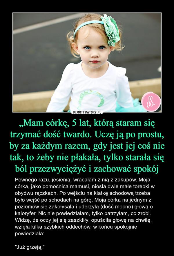 """""""Mam córkę, 5 lat, którą staram się trzymać dość twardo. Uczę ją po prostu, by za każdym razem, gdy jest jej coś nie tak, to żeby nie płakała, tylko starała się ból przezwyciężyć i zachować spokój – Pewnego razu, jesienią, wracałam z nią z zakupów. Moja córka, jako pomocnica mamusi, niosła dwie małe torebki w obydwu rączkach. Po wejściu na klatkę schodową trzeba było wejść po schodach na górę. Moja córka na jednym z poziomów się zakołysała i uderzyła (dość mocno) głową o kaloryfer. Nic nie powiedziałam, tylko patrzyłam, co zrobi. Widzę, że oczy jej się zaszkliły, opuściła głowę na chwilę, wzięła kilka szybkich oddechów, w końcu spokojnie powiedziała: """"Już grzeją."""""""
